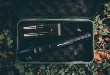 Tactical flashlight in a box with rechargeable batteries