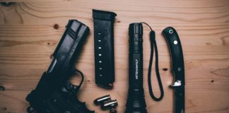 every day carry with gun knife and military grade flashlight