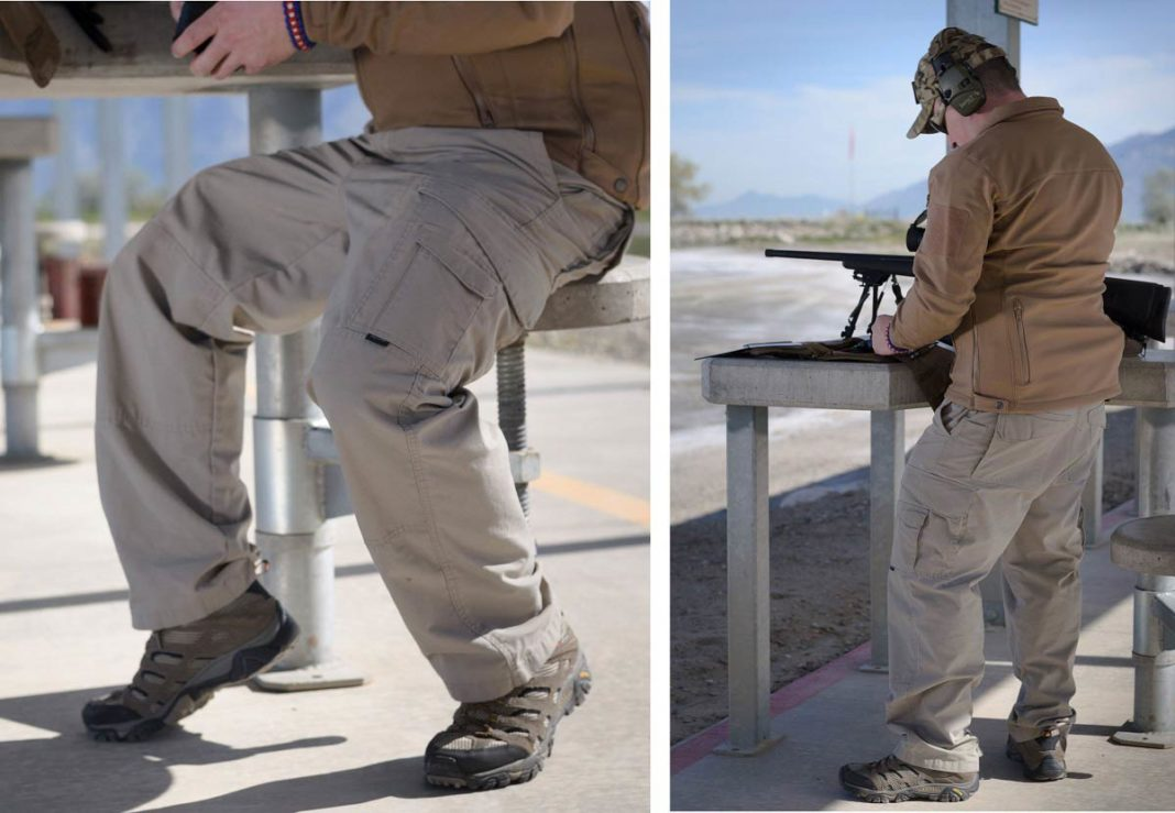 man wearing tactical pants at firing range