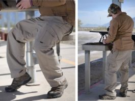 man wearing tactical pants at firing range