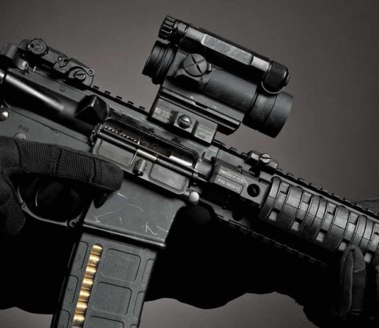aimpoint scope on ar 15 gun