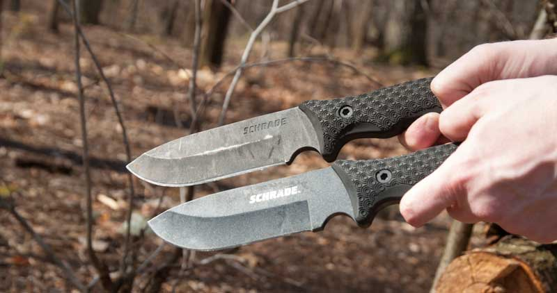 Shrade SCHF36 and SCHF51 knives side by side