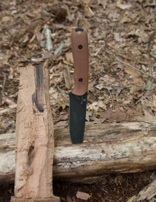 schrade42d knife used for battoning