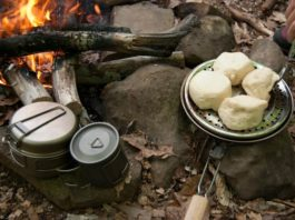 old fashioned potato baker used during camping trip