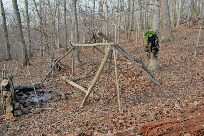 building a shelter in the woods