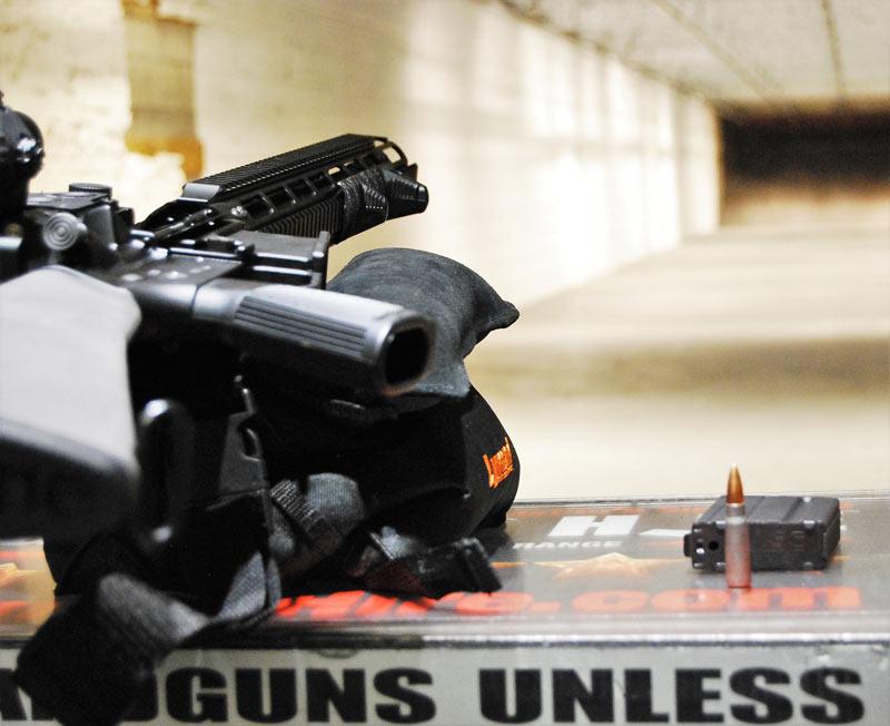 Crucible Heat Shield on a AR-15 at the gun range